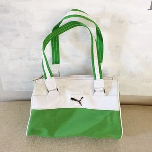 Vintage Puma Green and White Sporty Bag 7e8e61f60f
